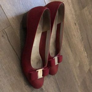 Burgundy Ferragamo shoes